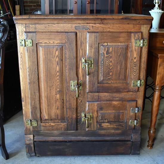 "Antique ""Cold Storage"" Brand Tiger Oak Ice Box Refrigerator, Wooden Caster Feet"