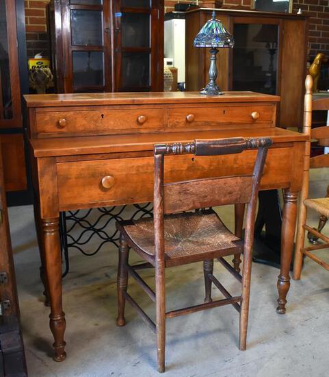 American Antique Signed Hand Made Sheraton Black Cherry Secretary Desk