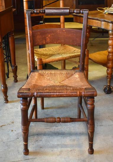 American Antique Rush Seat Sheraton Side Chair