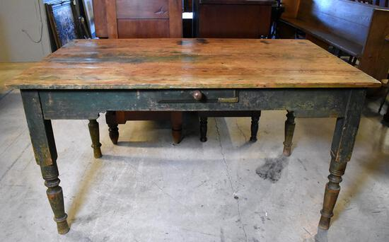 Rustic Antique Heart Pine Table w/ Old Green Paint Legs, Age Distressed Top, Simple Scroll Apron