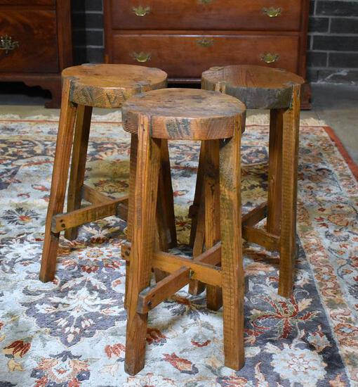 Set of 3 Antique Heart Pine Hand Made Stools