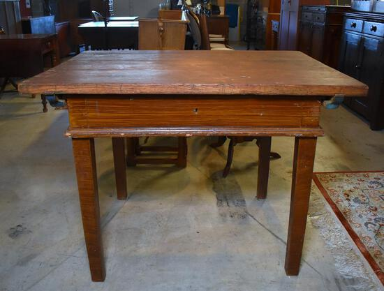 Antique 19th C. French Baker's Work Table, Top Slides Back for Rising Dough and Implement Storage