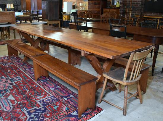 Antique 20th C. South Carolina Heart Pine Trestle Farm Table