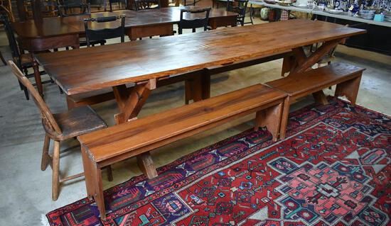 Set of 4 Antique 20th C. South Carolina Heart Pine Dining Benches