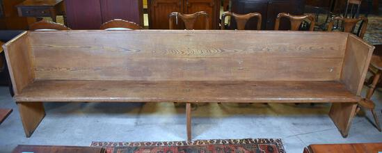 Hand Made 19th C. Heart Pine Church Pew from Damascus Baptist Church, Greenwood, SC