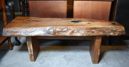 Stout Live Edge Oak Wood Bench