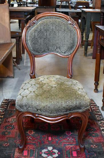Elegant 19th C. Victorian Carved Walnut Side Chair
