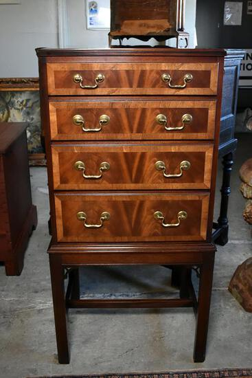 "Flame Mahogany 4 Drawer Locking Silver Chest on Stand, ""Plantation"" by Hickory Chair, Banding"