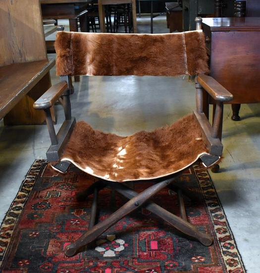 Early 20th C. Cowhide Upholstered Safari Chair by Gold Medal Folding Furniture, Racine, WI
