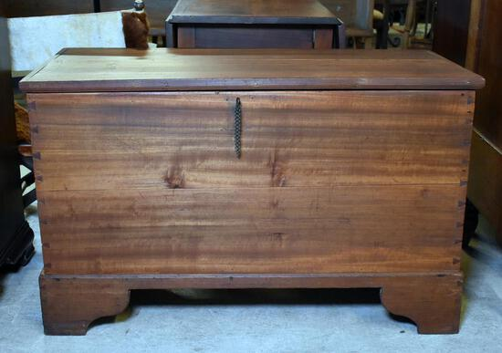 Antique Primitive 19th C. Pine Blanket Chest, Dovetailed