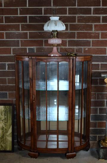 Vintage Bowfront Glass Shelved Curio Cabinet, Mirrored Back