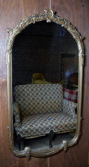 Vintage Oval Gilded Wood Frame Mirror