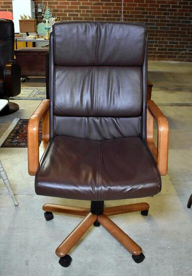 Nice Dark Brown Leather Hi Back Tilter Office Chair by Global Upholstery