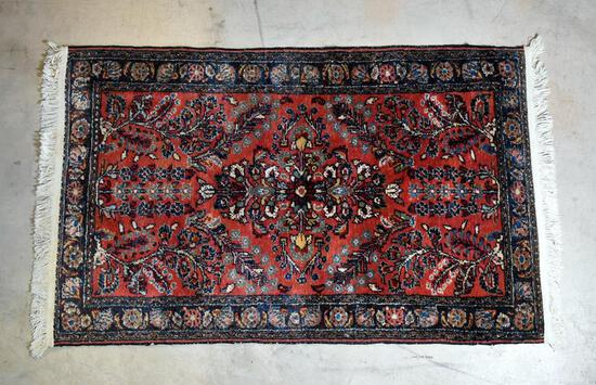 Beautiful Persian Hand-Knotted Area Rug; Red, Blue & Ivory