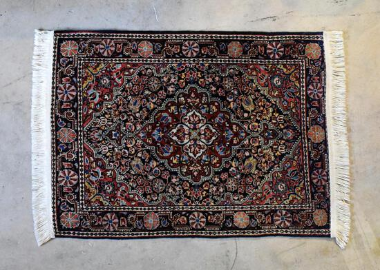 Gorgeous Jozan Persian Hand-Knotted Area Rug: Red, Black & Ivory