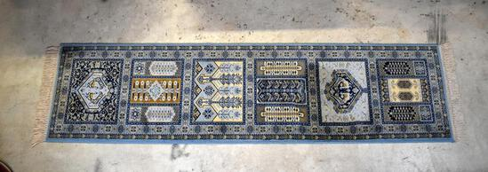 Fine Persian Hand-Knotted Runner Rug: Blue Gold & Ivory