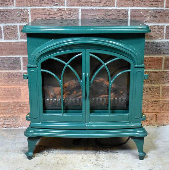 Plow & Hearth Green Enamel Finish Electric Fireplace / Space Heater