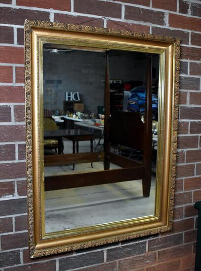Antique Rectangular Large Gilded Wood Mirror