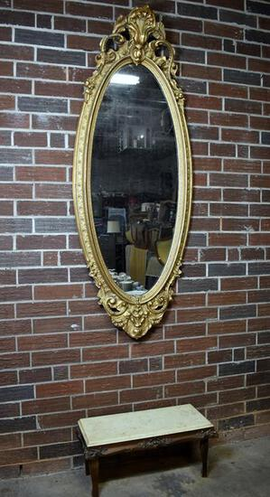 Antique Oval Gilded Wood Pier Mirror & Marble Top Low Bench