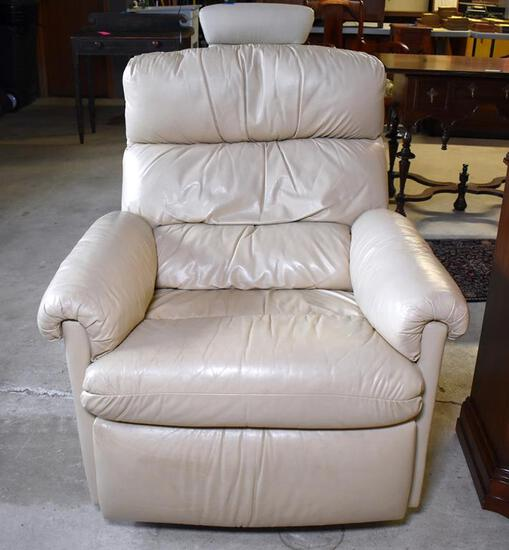 Nice Quality Bradington Young Light Tan Leather Swivel Recliner: Rocks, Swivels & Reclines