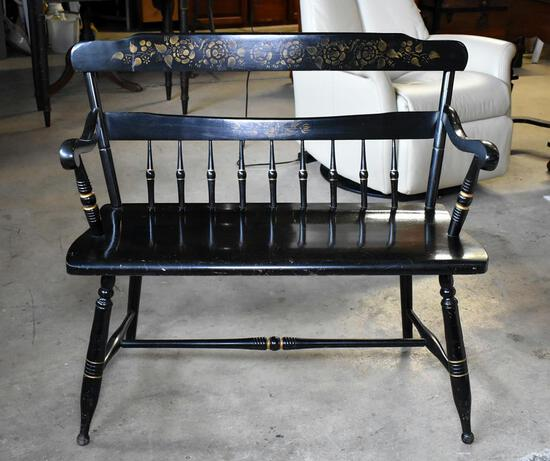 Vintage Hitchcock Style Black Bench, Includes Blue Seat Cushion