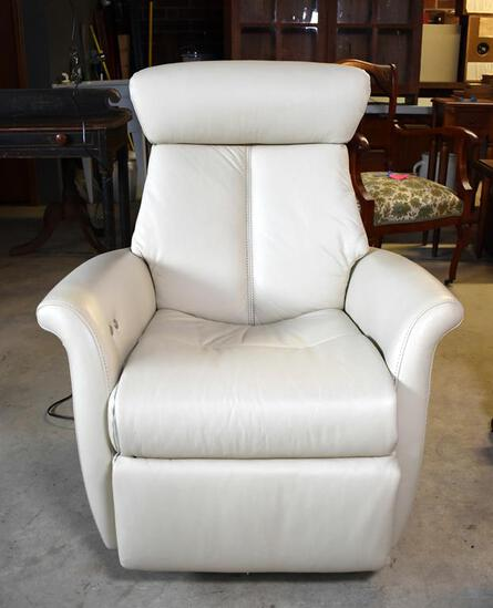 "Fine IMG Norway ""Boss"" Luxury Ivory-Light Tan Leather Power Recliner"