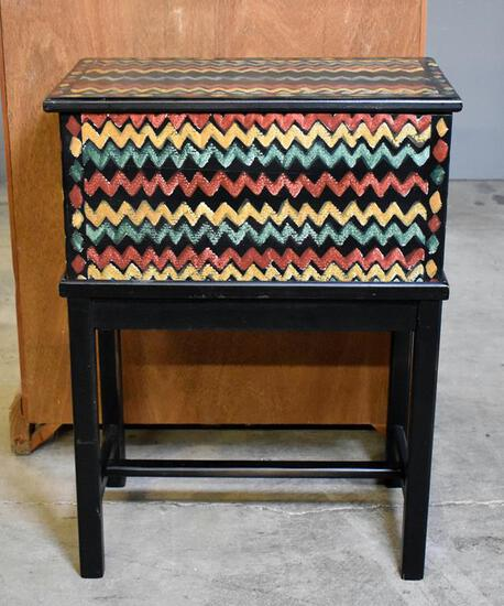 Small Colorful Zig Zag Decorated Chest on Stand