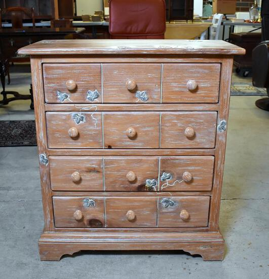 Light Wood Ivy Motif Diminutive Four Drawer Chest by Design South Furniture