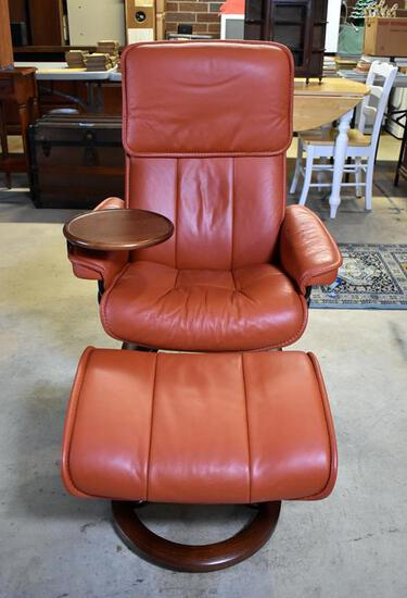 Ekornes Stressless Paloma /Burnt Orange Leather Scandinavian Swivel Recliner, Ottoman & Drink Stand