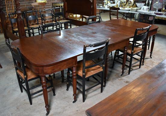 "Figured Hand Planed Walnut Federal Sheraton Period Ca. 1810 ""D"" Dining Table, Brass Caster Feet"