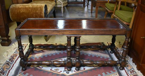 Handsome Vintage Baker Furniture Oak Coffee Table with Embossed Leather Top