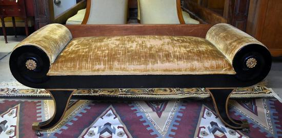 Classical Black & Gilt Scroll Arm Upholstered Lounge Bench