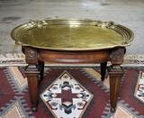 Wonderful Vintage Hammered Brass Tray Top Cocktail / Coffee Table