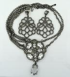 Brilliant Kenneth Lane Runway Rhinestone Necklace w/ Pierced Earrings