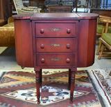 Pretty Red Martha Washington Vintage Sewing Table