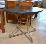 Handsome Mid-Century Modern Black Granite Top Round Table, Aluminum Frame w/ Brass Trim