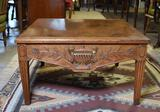 Beautifully Carved Vintage Coffee Table with Handsome Woodgrain
