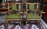 Pair of Mid-Century Bamboo & Rattan Armchairs w/ Upholstered Seats and Backs