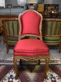 Exquisitely Carved Shadell & Bachmann, Inc., NYC Side Chair, Scarlet Red Upholstery