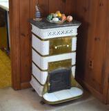 Antique White Ceramic Continental European Wood/Coal Stove, Black Marble Top,  Brass Trim