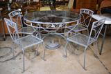 Vtg. Mid-Cent. Woodard Ivy Leaf Wrought Iron Patio Table & Four Chairs, Glass Top, Macon Umbrella St