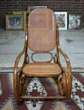 Superb Vintage Thonet Bentwood Rocker, Caned Seat & Back