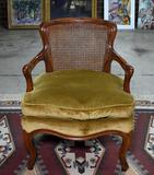 Gracefully Carved Shadell & Bachmann, Inc., NYC Armchair, Caned Back, Verdigris Upholstered Seat