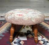 Vintage Crawford Mfg. Co. Hooked Embroidery Floral Seat Footstool
