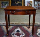 Vintage Mahogany Side Table with Embossed Leather Top, Caster Feet