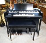 Black Vintage 1955 Hammond M3 Tone Wheel Organ in Excellent Condition w/ Bench, Ser No.# 75006