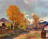 Lajos Slevensky (Hungarian 1910-75) Village Landscape, Oil on Canvas, Signed Lower Left