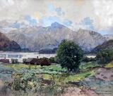 """Fritz Lach (Austrian 1868-1933) """"Der Traunsee Bei Altmunzfer"""" Watercolor 1920, Signed Lower Right"""