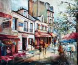 Dillinger, French Street Scene, Oil on Canvas, Signed Lower Right