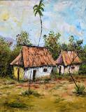 C. Girault, Two Huts, Oil on Canvas, Signed/ Dated Lower Left